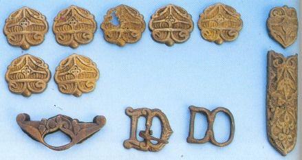Rakamaz, gold finished silver belt fittings, Xth century, Magyar.