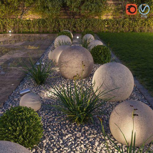 3D-Modell begrenzt Blumenbeet, Formate MAX, FBX, Architekturkugeln Buchsbaum zerkleinert