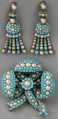 Antique turquoise and pearl convertible suite, designed as a bow pave-set [brooch or pin] with turquoise and split pearls, suspending conforming tassels convertible to ear pendants, 14kt gold and silver mount, within a fitted S.J. Phillips box.