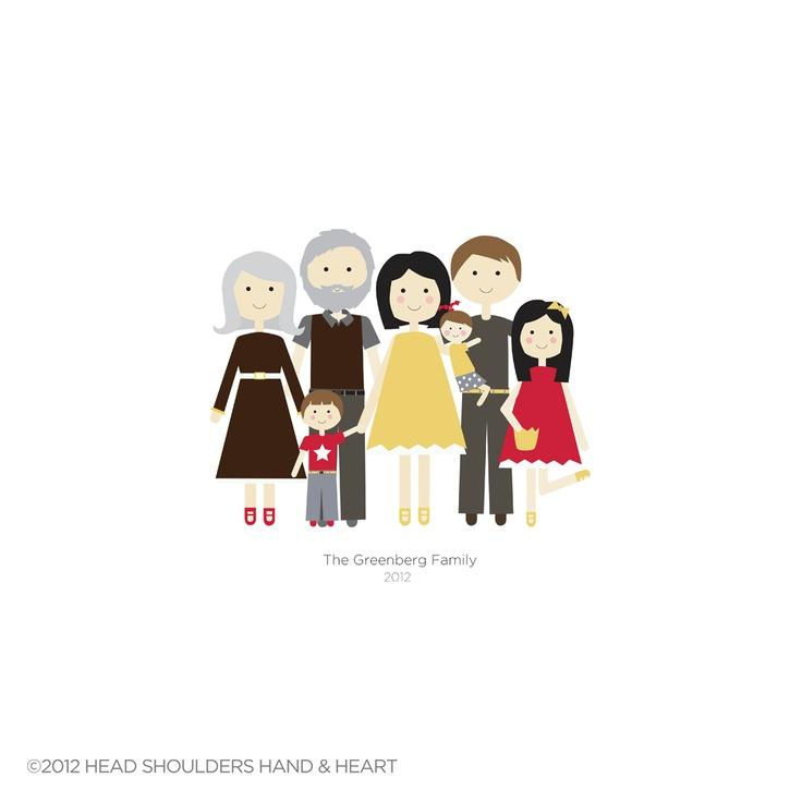 Custom Extended Family Portrait - Reserved for Lisa. $165.00, via Etsy.