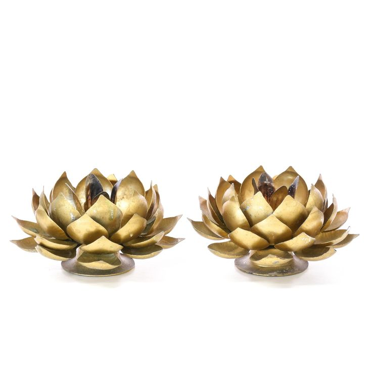 Pair of Brass Lotus Candleholders -  Loveseat is the best way to buy vintage home furniture in San Diego & Los Angeles.  Shabby Chic, Vintage, Mid Century Modern and much more.