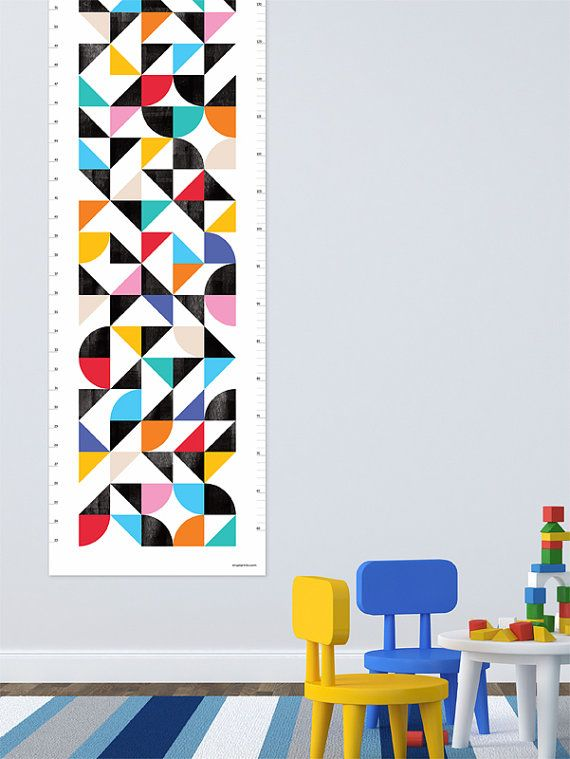 Organised Confusion (geometric) Height Chart / Growth Chart  for the modern kid on Etsy, $31.65 AUD