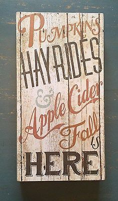 RUSTIC FALL SIGN PUMPKINS HAY RIDES APPLE CIDER BOX WOOD FALL IS HERE PRIMITIVE