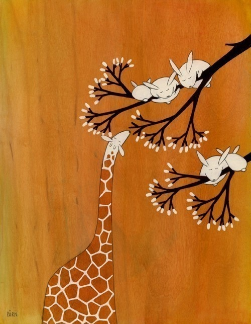 "Giraffe and bunnies painting - ""Not to Worry"""