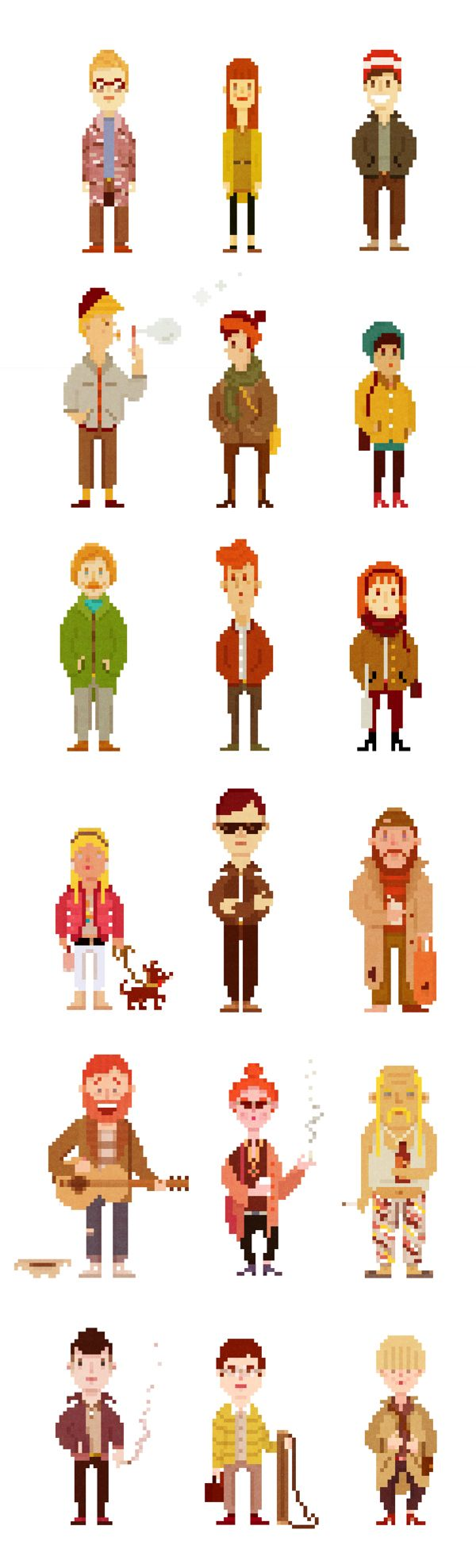 Pixel Based Characters. Could be incorporated into my animation and combine them with the pixel bands.