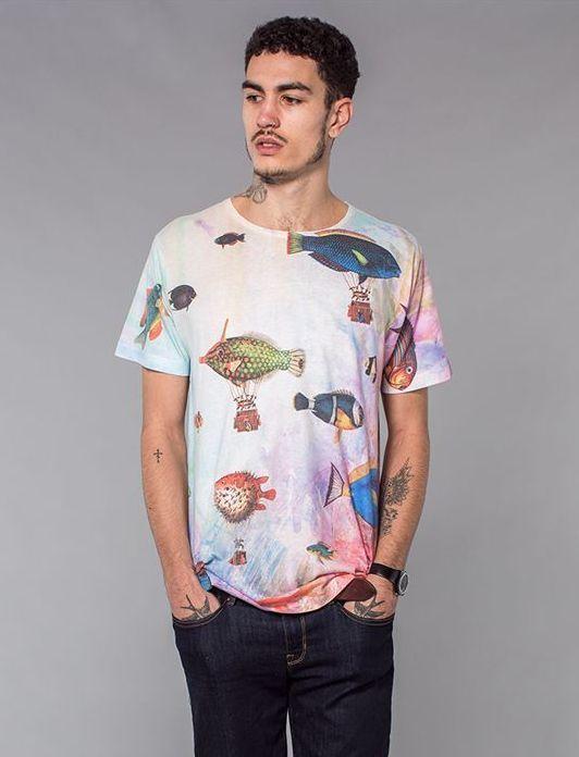 The Cuckoo's Nest digital print tee with Fish Print t-shirt Medium - Large #TheCuckoosNest #GraphicTee