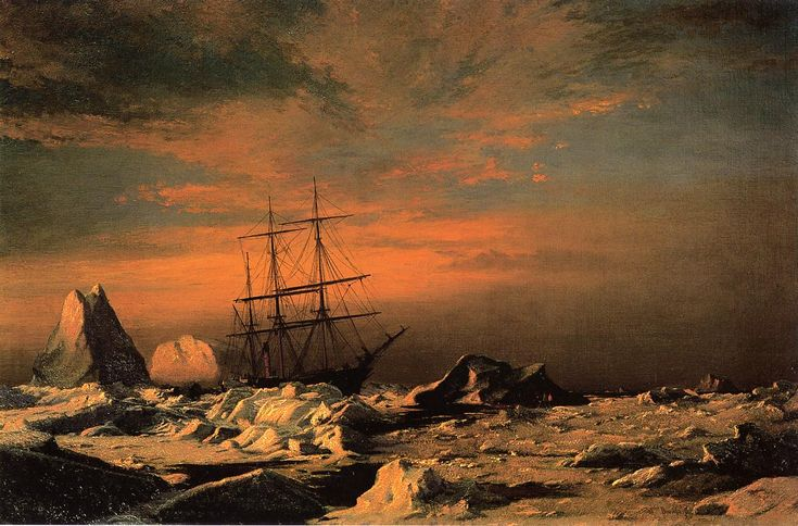"""""""The 'Panther' among the Icebergs in Melville Bay"""" by William Bradford, 1874."""