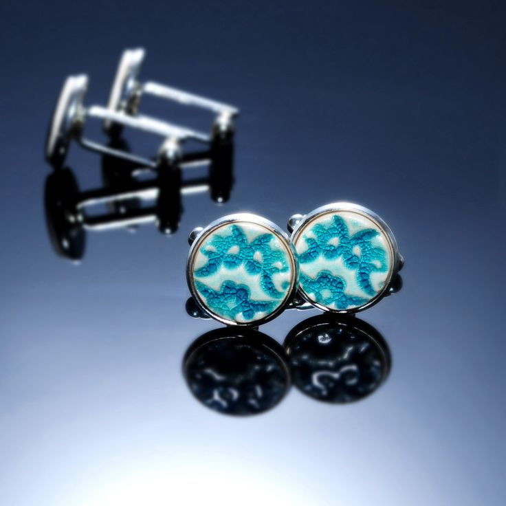 "www.polandhandmade.pl #polandhandmade #ceramika #zudesign  Turquoise original cufflinks. 15mm 0.6"" Turquoise ceramics, silver plated findings. Distinctive, elegant everyday accessory for men. For him by ZuDesignJewelry on Etsy"