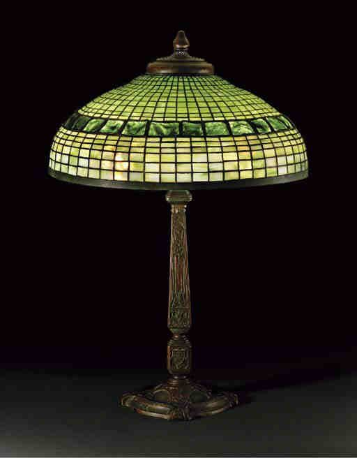 authentic tiffany studios lamp in geometric design with. Black Bedroom Furniture Sets. Home Design Ideas