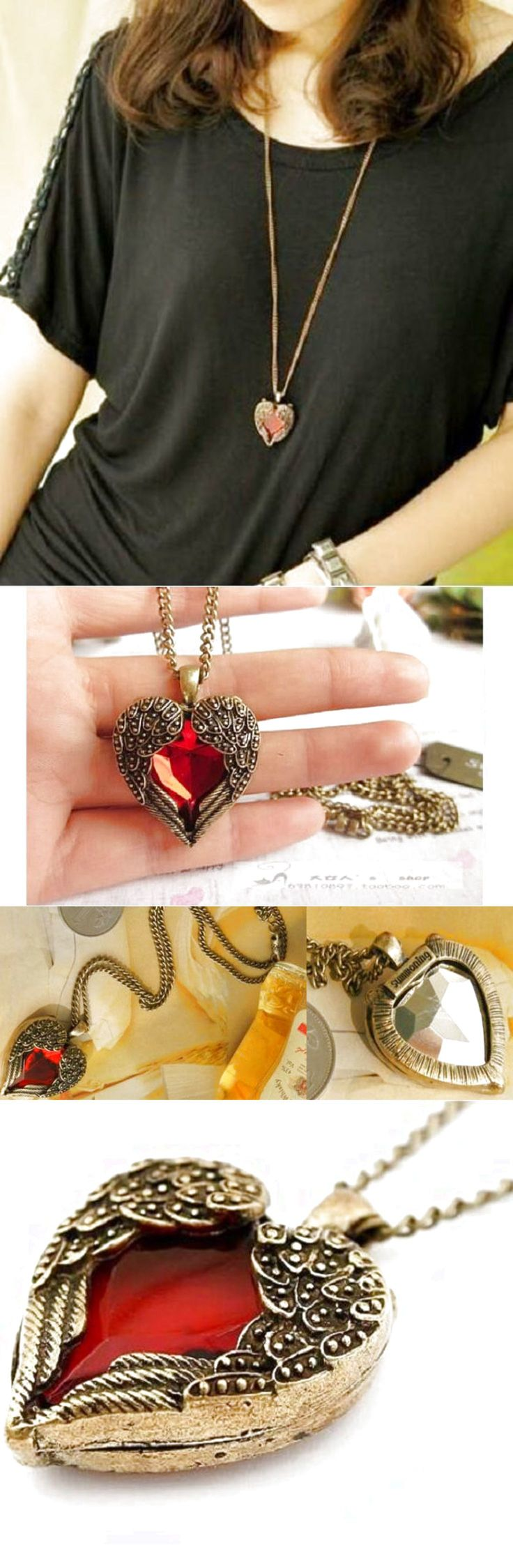 Fashion Women Retro Vintage Heart Crystal Pendant Long Chain Necklace Jewelry $0.99