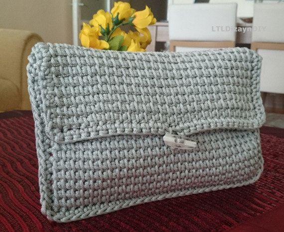valentine's day gift grey macrame clutch bag by LTLDizaynDIY
