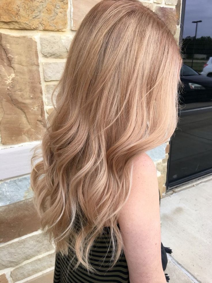 Golden blonde with rose gold tint