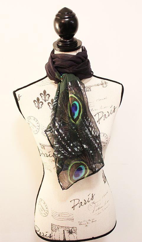 Pure chiffon silk peacock scarf by CHOBHI