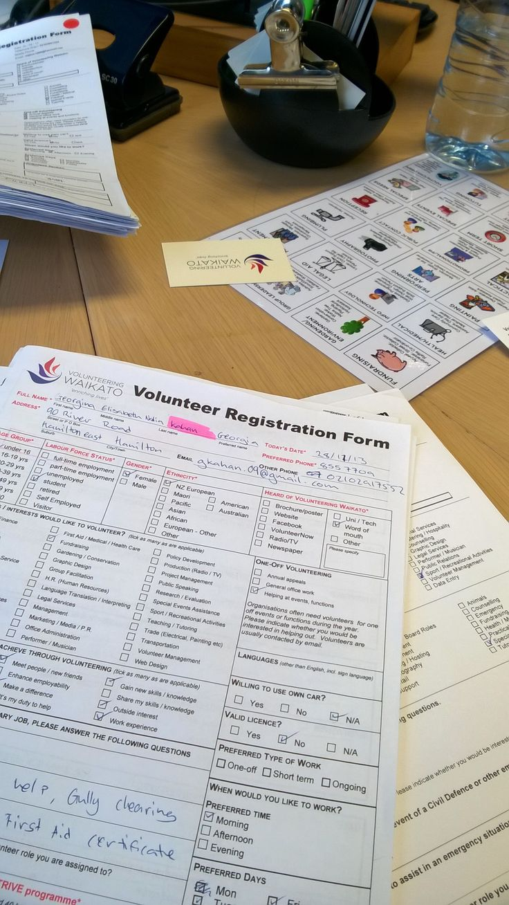 Part of my volunteer job as an interviewer: Sorting out volunteers' registration form