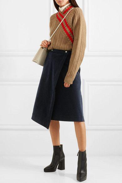 f6562d134079 Acne Studios - Asymmetric Cotton-blend Corduroy Wrap Skirt - Navy in ...