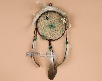"""Navajo Indian Antler Dream Catcher 6"""""""" -green (dc6-16)"""