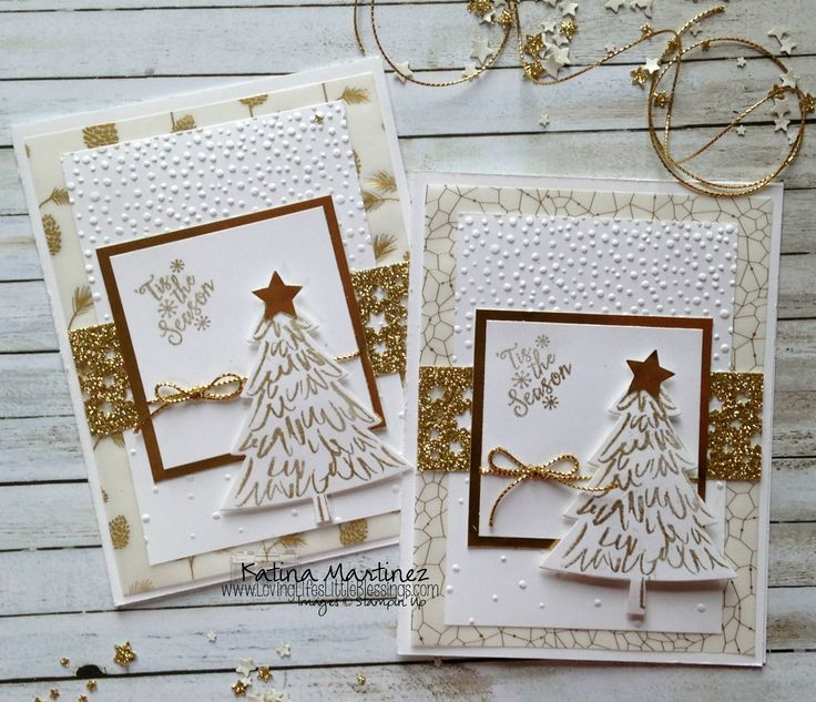 Stampin' Up! Peaceful Pines Gold Inspired Christmas Cards