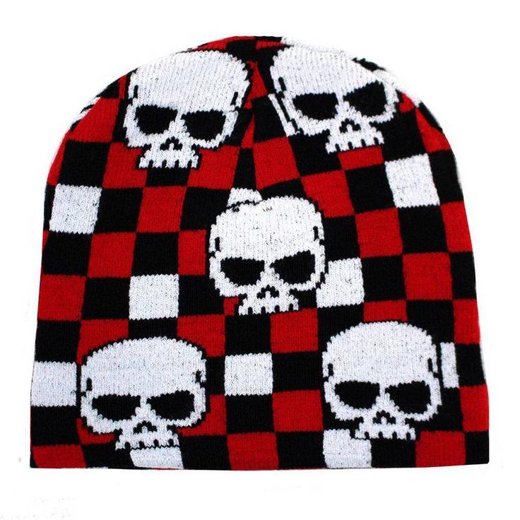 Skull Heads Red Black White Checkered Beanie Knit Hat Punk Snowboard Headgear #Leema #Beanie