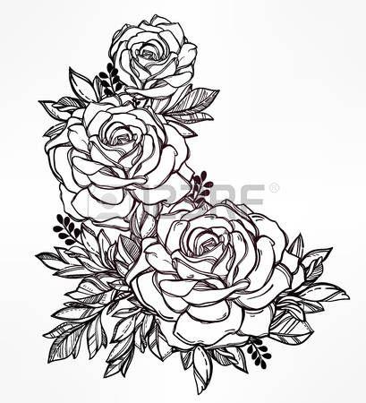 Vintage floral sehr detaillierte Hand gezeichnet stieg Blume Stengel mit Rosen und Bl tter Viktorian Lizenzfreie Bilder