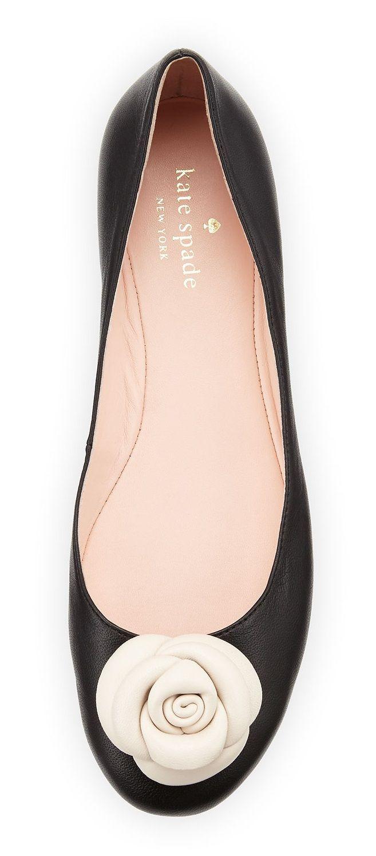 Tendance Chaussures   Neiman Marcus  Kate Spade New York Walta Leather Flower Ballerina Flat Black