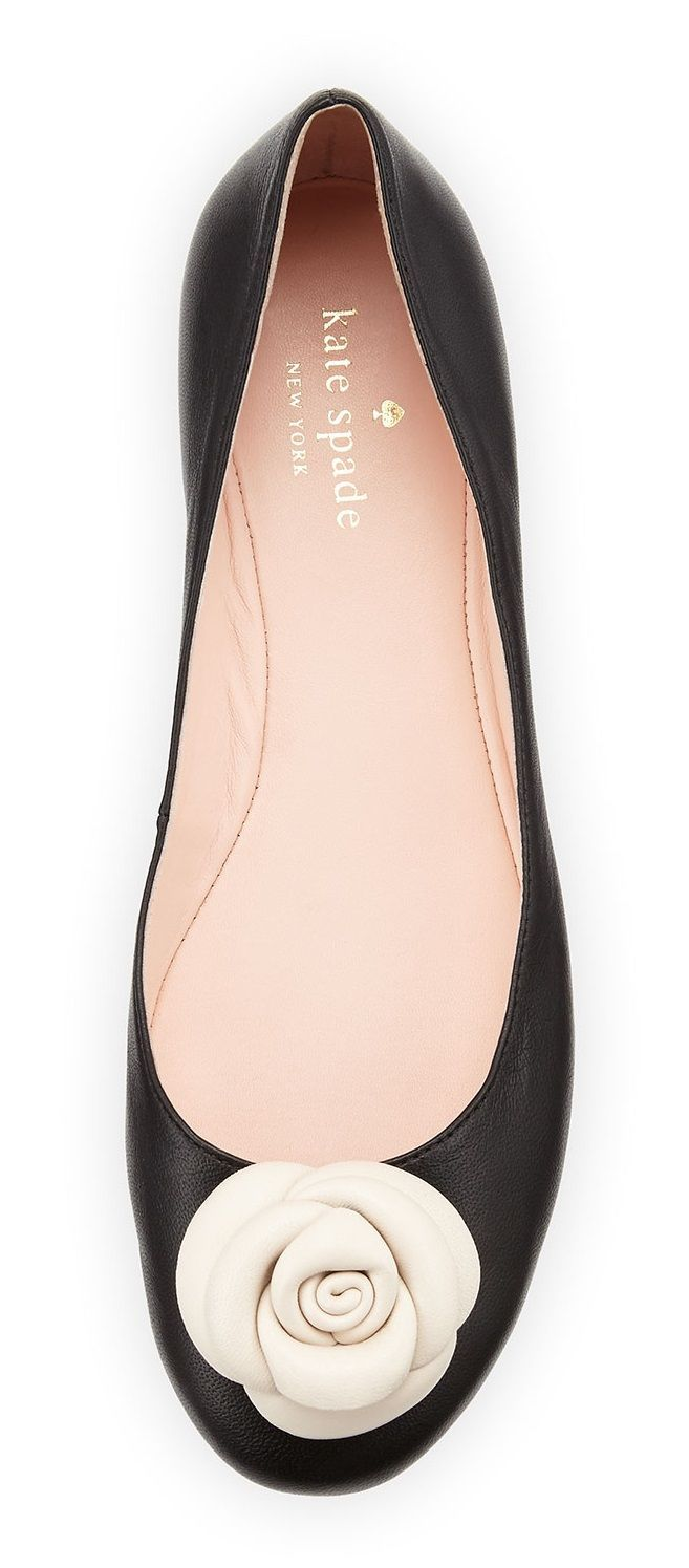Tendance Chaussures   Neiman Marcus  Kate Spade New York Walta Leather Flower Ballerina Flat Black