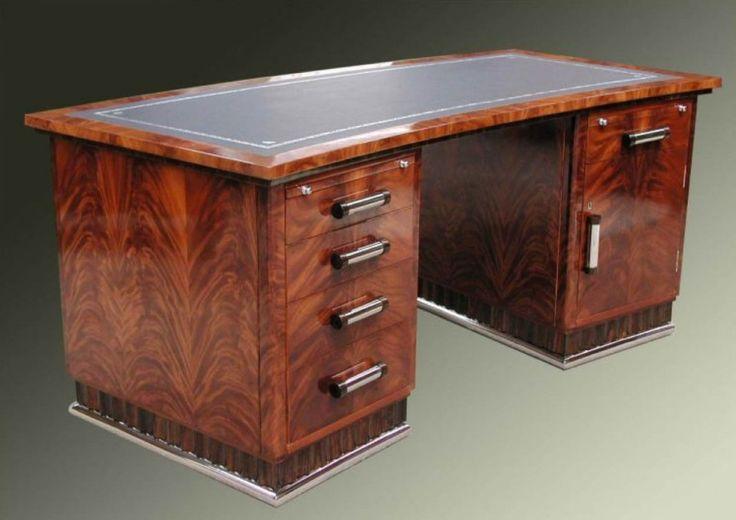 Flame Mahogany Pedestal Desk