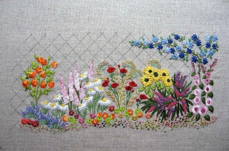 BRODERIE TRADITIONNELLE jardin fleuri