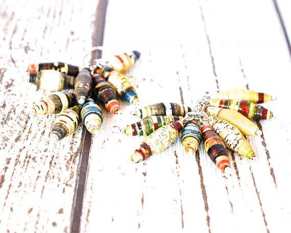 Multicolored Earrings - Paper Bead Earrings - Unique Earrings - Striped Earrings - Sustainable Jewelry - Unique Jewelry - White Earrings thecoastaldesert handmade jewelry jewellery