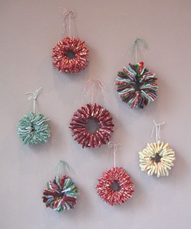 recycled sweater Christmas wreaths