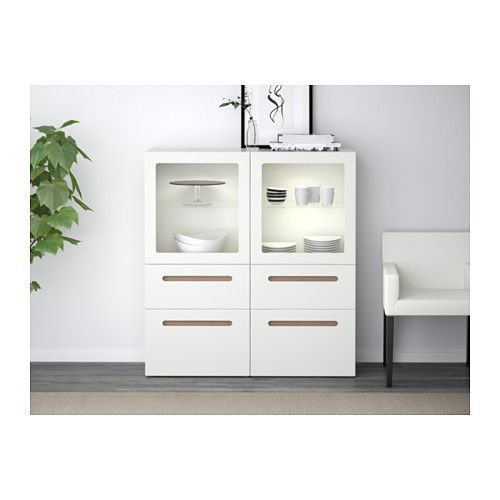 BESTÅ Vitrine - Marviken clear glass white, Drawer rail, gently closing - IKEA