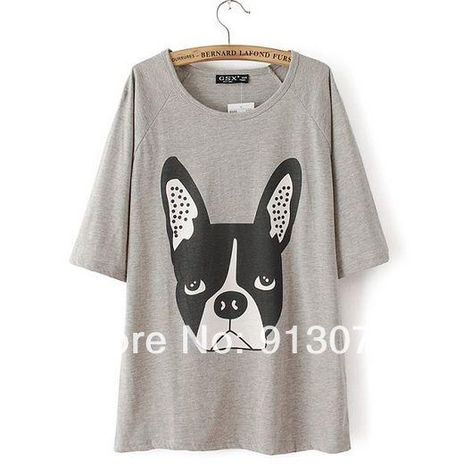 ST1789 New Fashion Ladies' Elegant cute puppy print T shirt  O neck short sleeve casual slim brand designer tops