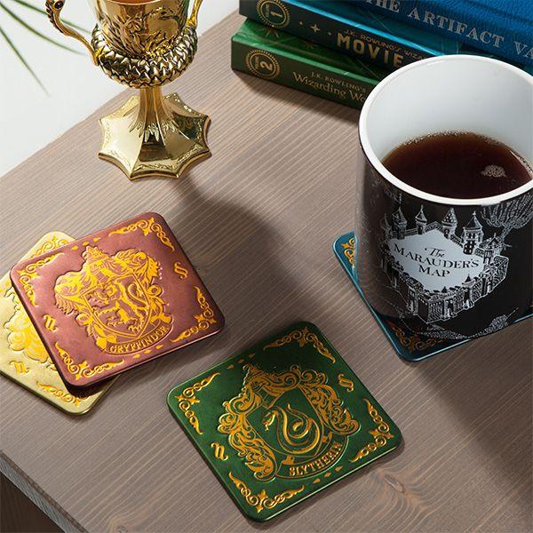 Embossed Metal Hogwarts House Coasters