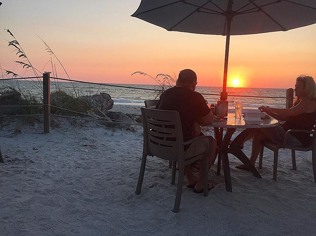 A favorite past time - toes in the sand  dining at The Beach House at sunset     Don't miss another sunset on Anna Maria Island. Book your stay at Blue Turtle Cottage direct and pay no traveler fees    #annamariaisland #blueturtlecottage #sunset #thebeachhouse #toesinthesand #wanderlust #passportready #bookdirect #nofees #islandlife #islandgirl