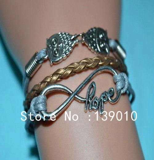 Старинное серебро плетеный золотая кожа веревка двойной сова надежда бесконечность браслет подвески мода женщин мужчины настроить дружба ювелирные изделия