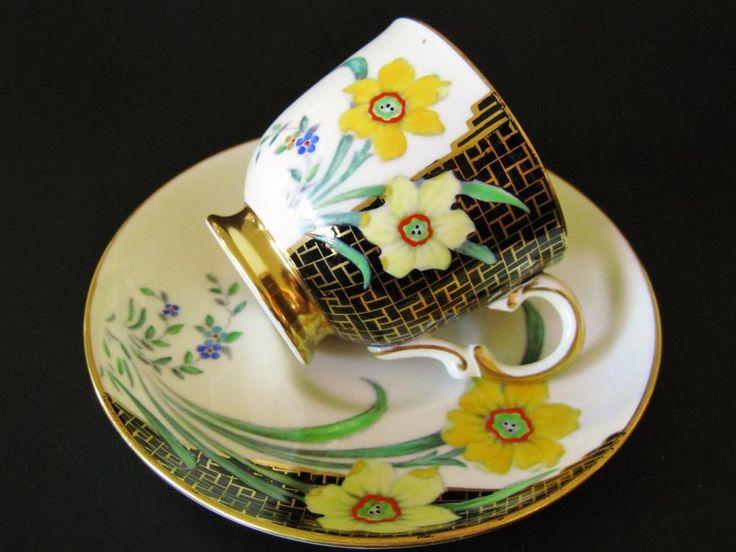 Vintage Tuscan Demitasse duo, stunning hand painted design.