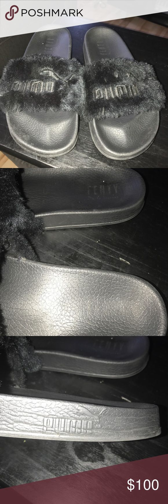 Rihanna Puma Fenty Fur Slides In excellent condition Sold out everywhere her hottest slide to date know your size in this brand her shoes usually run a size bi so these will fit from a 8.5-10 depending on your toe length Rihanna Shoes Sandals
