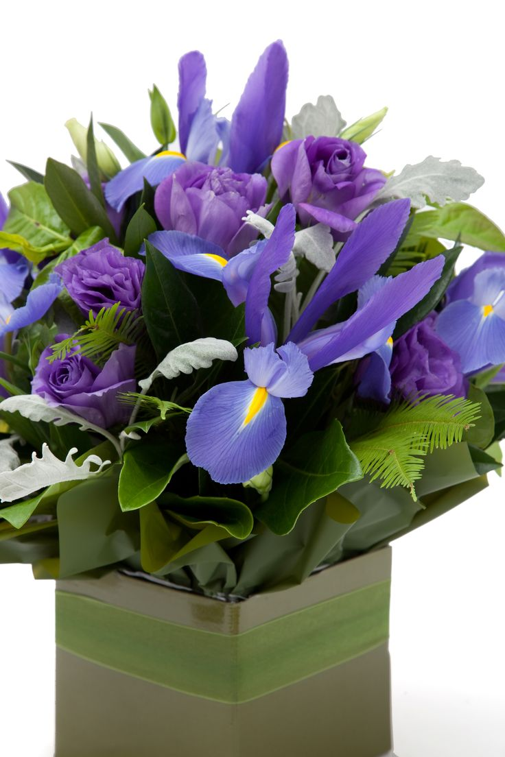 Iris and lissianthus flowers