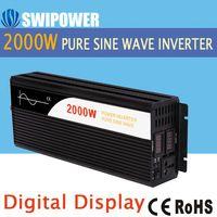 2000 W de onda senoidal pura energia solar inversor DC 12 V 24 V 48 V para AC 110 V 220 V display digital