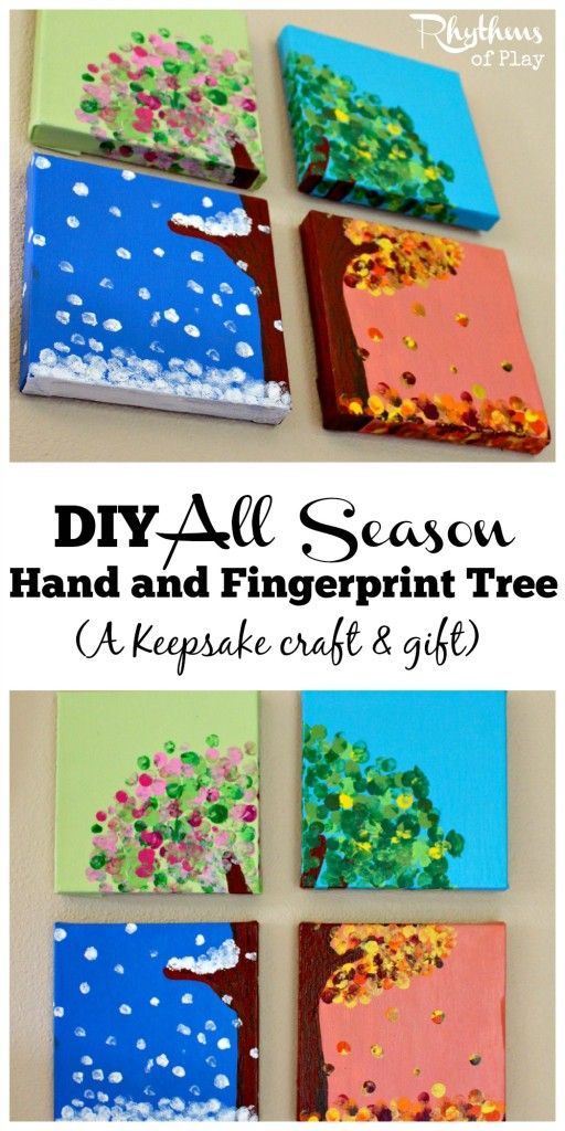 This four season hand and fingerprint tree is a DIY keepsake craft and gift that kids can make. A unique handmade gift idea for Christmas, Mother's Day, Father's Day or any other occasion. Learn how to make your own with the easy to follow tutorial. Make one with your kids today!