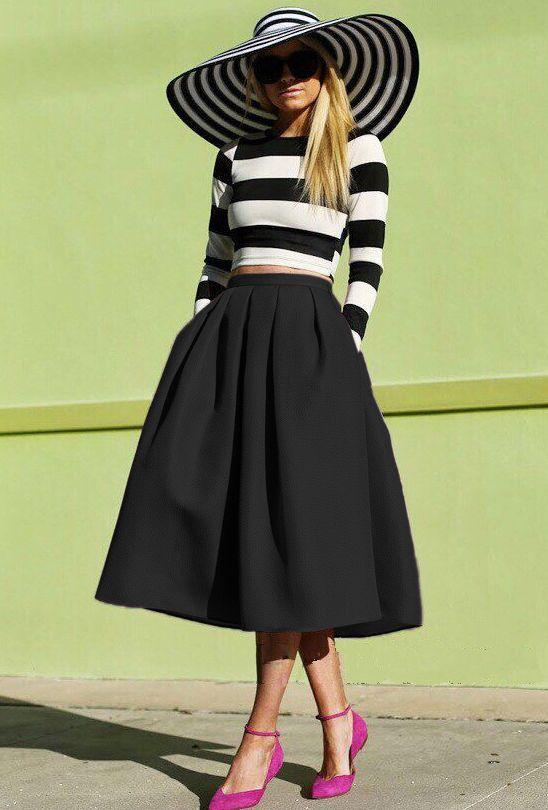 jupe évasée avec plissé -Noir  18.40
