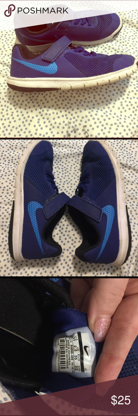 Boys Nike shoes Royal blue and light blue Velcro no lace shoes my sons feet are growing so quick!' Great shoes and lots of life left in them, will wash before I mail. Nike Shoes Sneakers