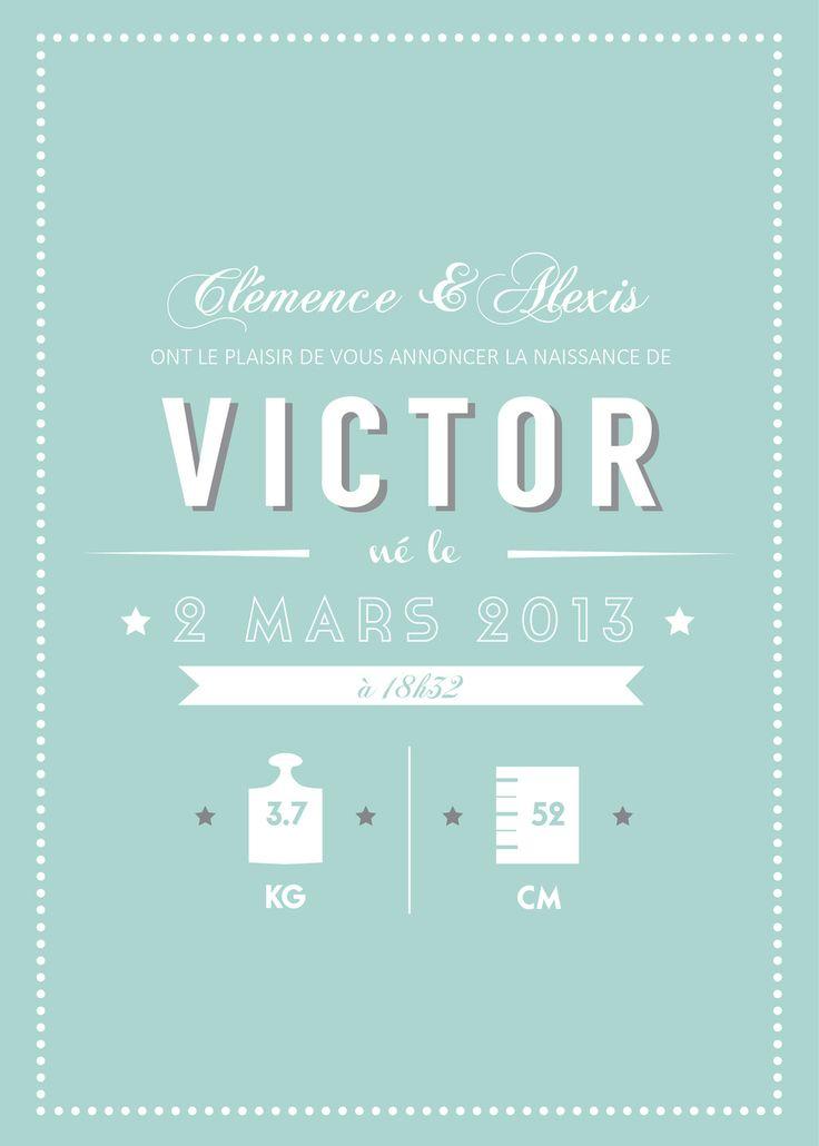 """Faire-part de naissance vintage """"Victor"""", fichier PDF"""