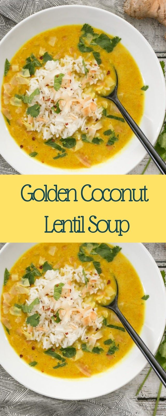 Golden Coconut Lentil Soup | Velia Kitchen
