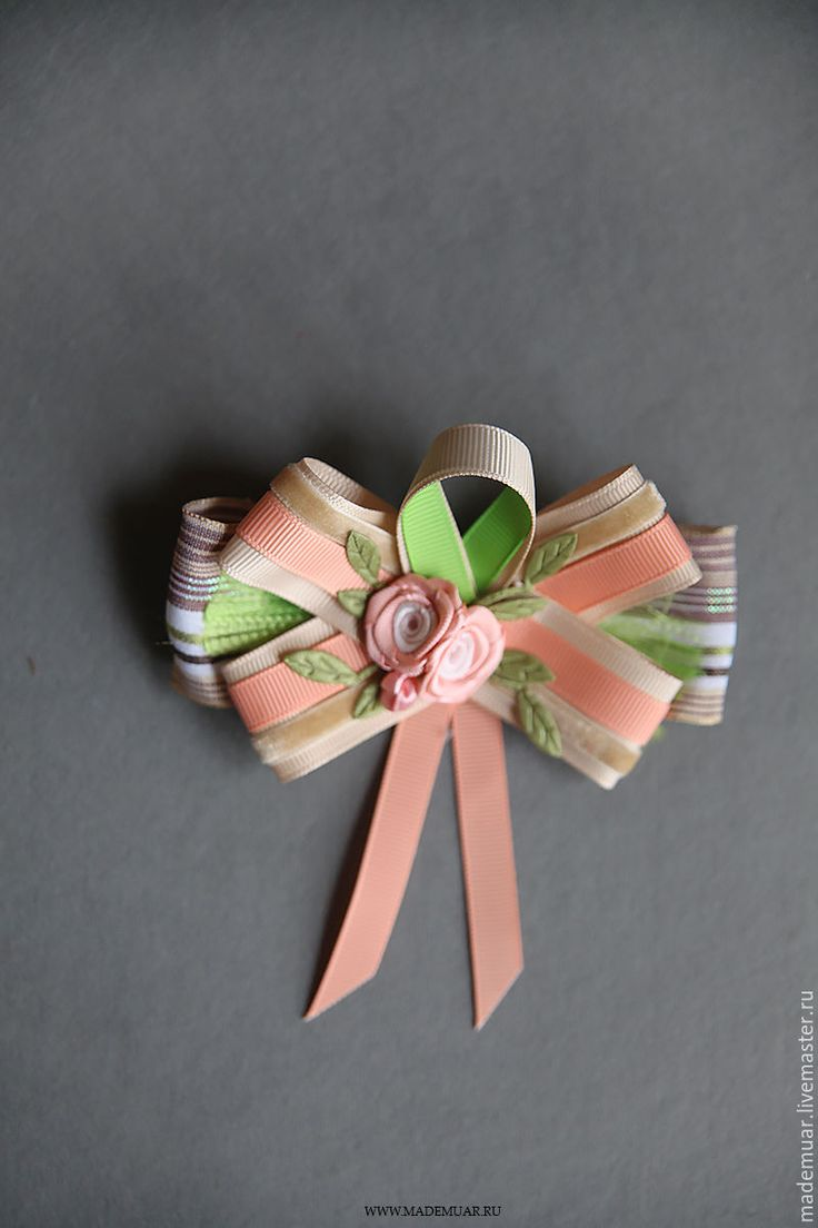 Купить Брошь из репсовых лент - комбинированный, голубой, розовый, зеёный, репсовая лента, брошь, на подарок