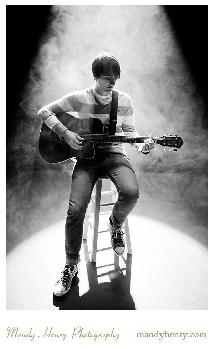 Senior Guy Photography using stage lighting, guitars, etc...