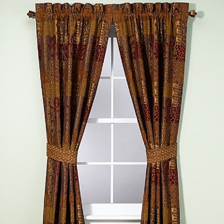 Croscill Galleria Red Pole Top Curtain Panels Tieback 80 X 84 Red Gold Brown New Panel Curtains Curtains Window Curtains