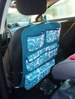 Il était temps, j'en avait un peu marre de nettoyer mes sièges de voiture salis par de petits pieds crottés qui dépassent du siège auto! Papa m'a réclamé une protection pour les siège, j'y ai ajouté des poches pour y mettre des bricoles, jouets, couverture,...