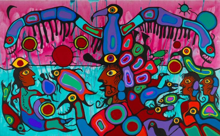 """""""Artist and Shaman Between Two Worlds"""", Norval Morrisseau, 1980, acrylic on canvas, 175 x 282cm, National Gallery of Canada. When Morrisseau fell gravely ill as a young man, a Medicine Woman restored his health and gave him the name Copper Thunderbird. The Woodland School used bold colours to explore the relationship between the land and the spirit world. Morrisseau always reminds me of Matisse."""