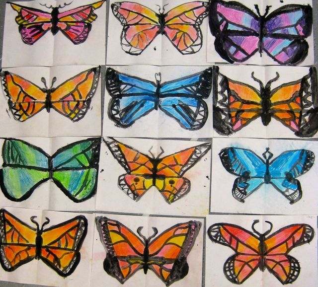 In the Art Room: 2nd Grade Printed and Chalked Butterflies