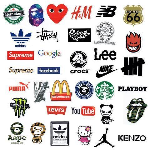 "35 PCS ""Big Brand Logos"" Waterproof Stickers"